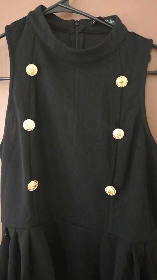 Black Elegant Party Double Button Asymmetrical Embellished Dip Hem Shell Round Neck Blouse Summer Women Casual Shirt Top photo review