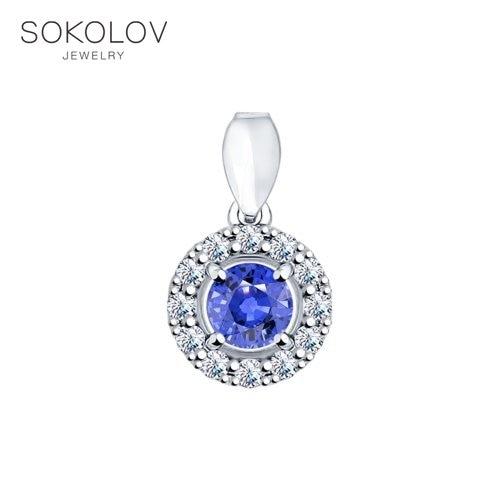 SOKOLOV Suspension Of Silver With A Blue Phianite Fashion Jewelry 925 Women's Male