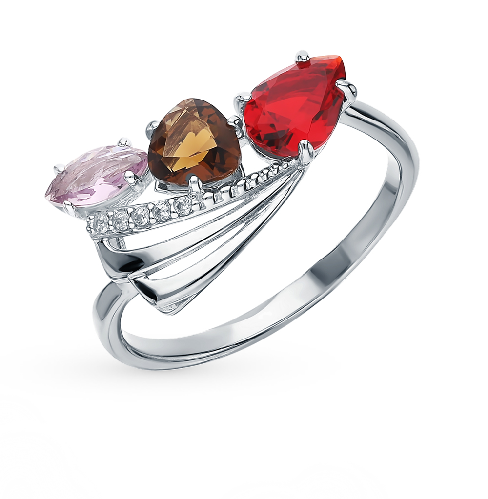 Silver Ring With раухтопазами, Amethyst, Cubic Zirconia And Garnet Sunlight Sample 925