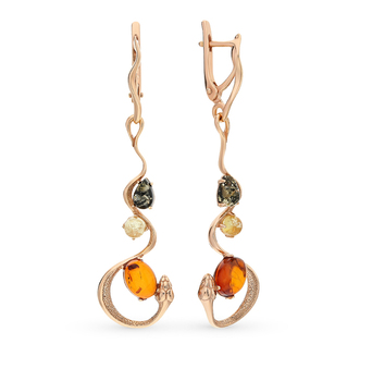 Silver earrings with amber sunlight sample 925