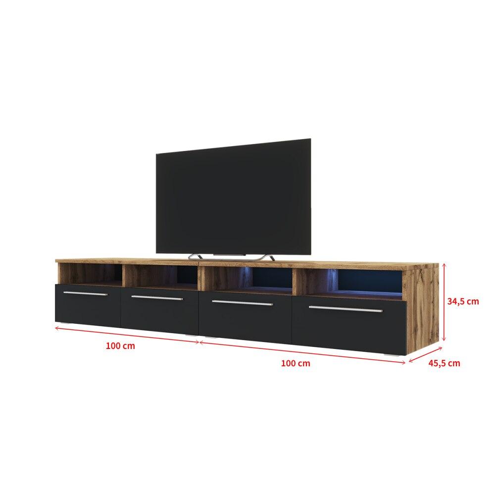Selsey PHIRIS DOUBLE - Meuble tv / Banc tv (2x100 cm, chêne wotan / noir brillant, éclairage LED) 4