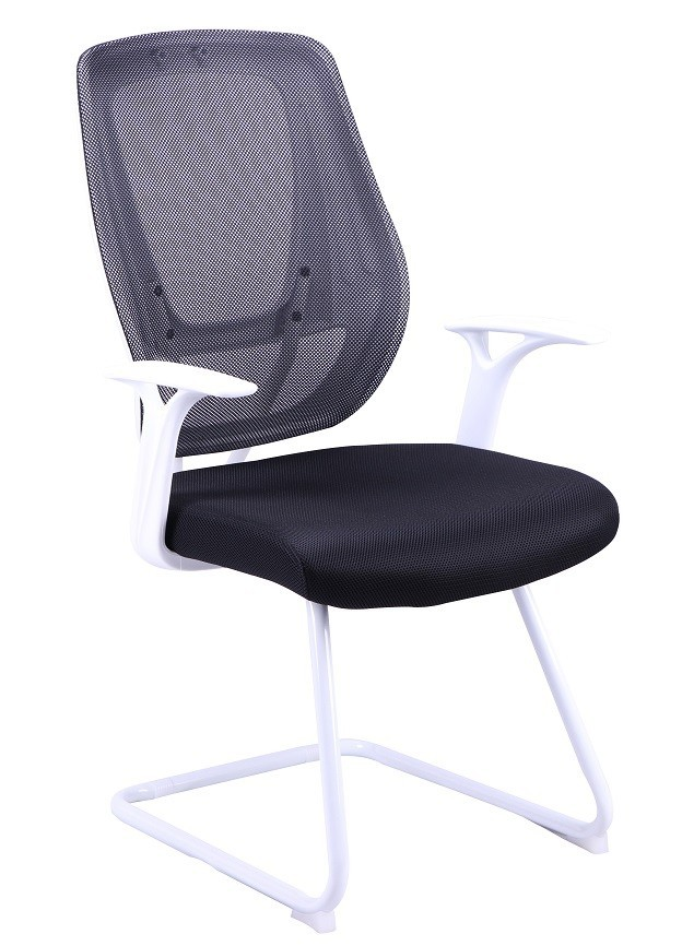 Office Armchair ULRIK, Fixed, White, Mesh And Black Fabric