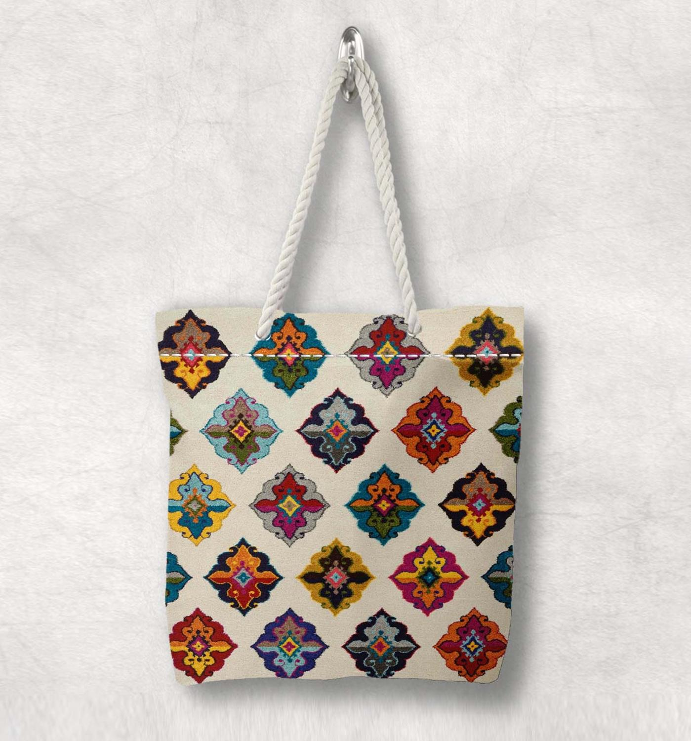 Else Colored Tiles Turkish Kilim Design New Fashion White Rope Handle Canvas Bag Cotton Canvas Zippered Tote Bag Shoulder Bag