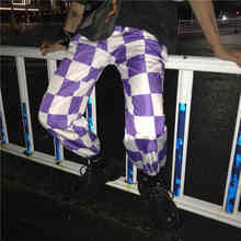 Hip Hop Harem Streetwear Plus Size Jogger Pant Plaid Harajuku Korean Women Man Punk Trouser Cargo Checkerboard Rap Loose Bottoms