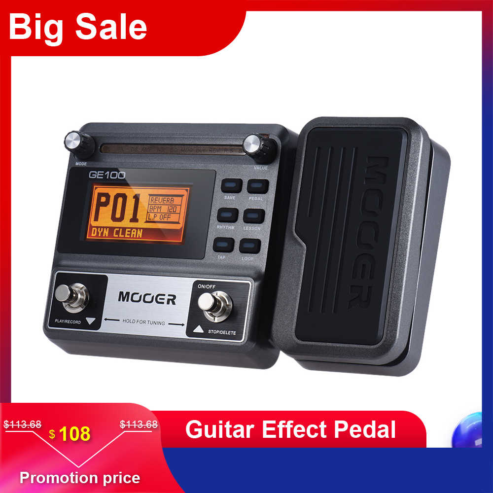 MOOER GE100 Guitar Pedal Multi-effects Processor Effect Pedal with Loop Recording(180 Seconds) Guitar Effect Pedal
