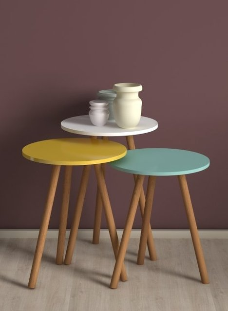3 Round Nesting Colorful Side Tables 2