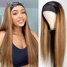 Unice Hair Bone proste włosy wyróżnij pałąk peruka ludzkie włosy blond brązowe proste włosy ludzkie dla afroamerykanów kobiet
