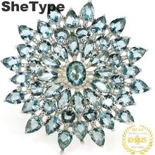 31x31mm 2019 New Designed Created 7.1g London Blue Topaz Real 925 Solid Sterling Silver Rings