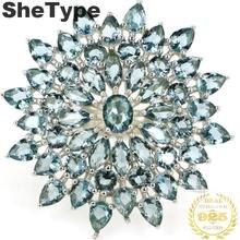 31x31mm 2019 nuevo diseño creado 7,1g Londres Topacio Azul anillos de plata esterlina sólida 925 Real