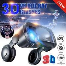 2 em 1 vrg pro + 3d vr óculos de realidade virtual durável de tela cheia com fone de ouvido para 5-7 polegadas smartphone com gamepad