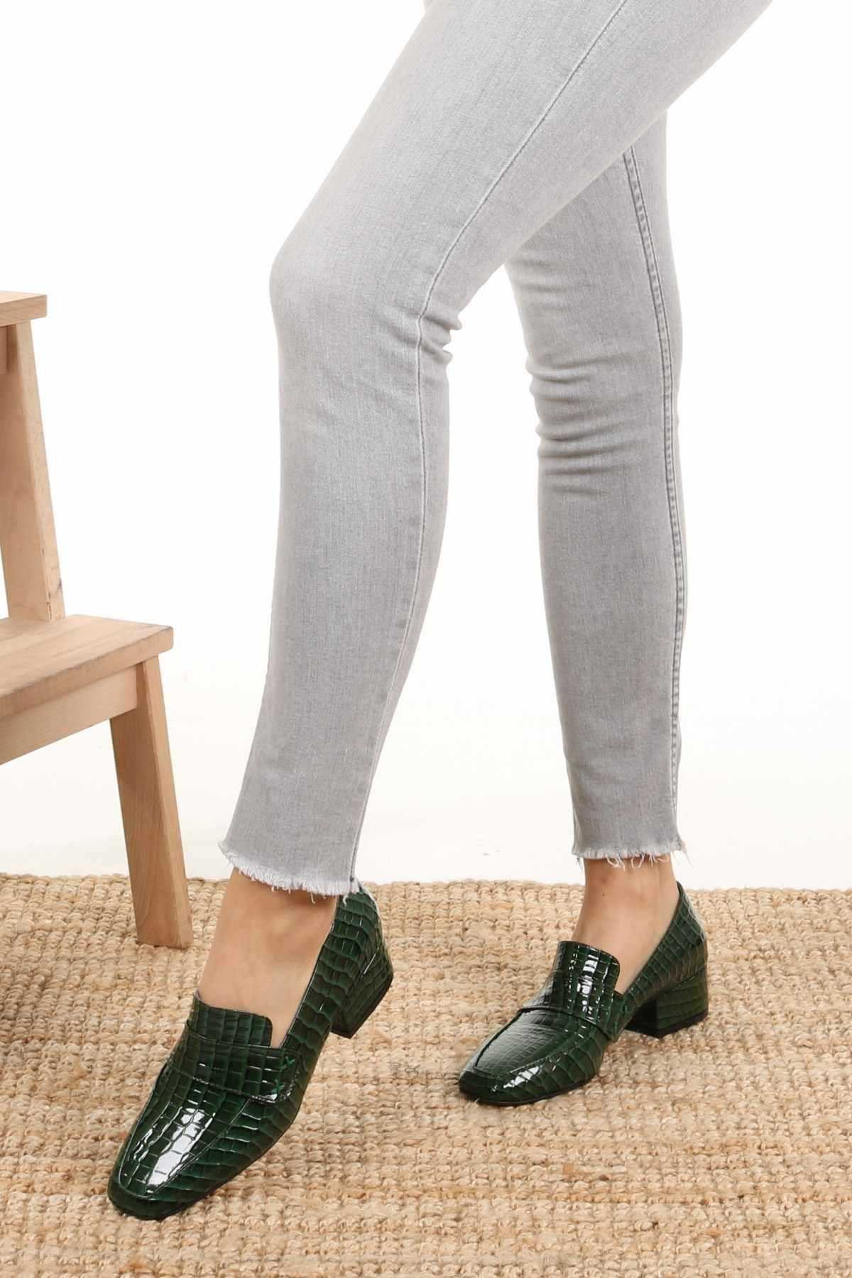 """Maddy Xanh Krokodil ngắn phong cách Giày nữ giày nữ Mũi Nhọn Công Sở Hàng Ngày Nữ Mùa Hè Giày Mujer """"Zapatos Muj"""
