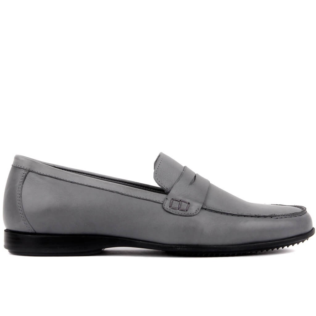 Sail Lakers-Gray Leather Man Casual Shoes