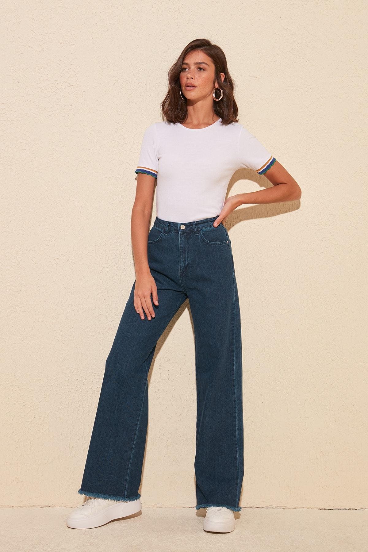 Trendyol Pettitoes Tassels High Bel Wide Leg Jeans TWOSS20JE0185