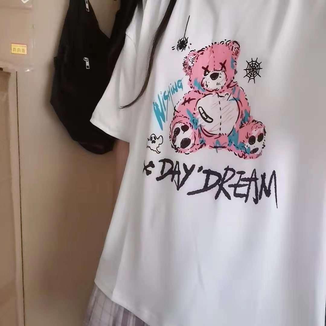 E-girl E-boy Gothic Punk Harajuku T-Shirt with Bear Printing photo review