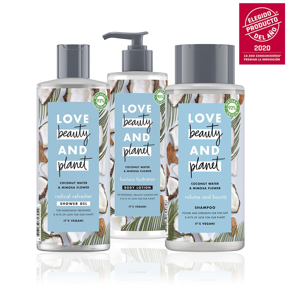 LOVE BEAUTY AND PLANET Set Sampoo, Shower Gel, Body Lotion Vegan Coconut Water And Mimosa Flower Package 100% Recycled