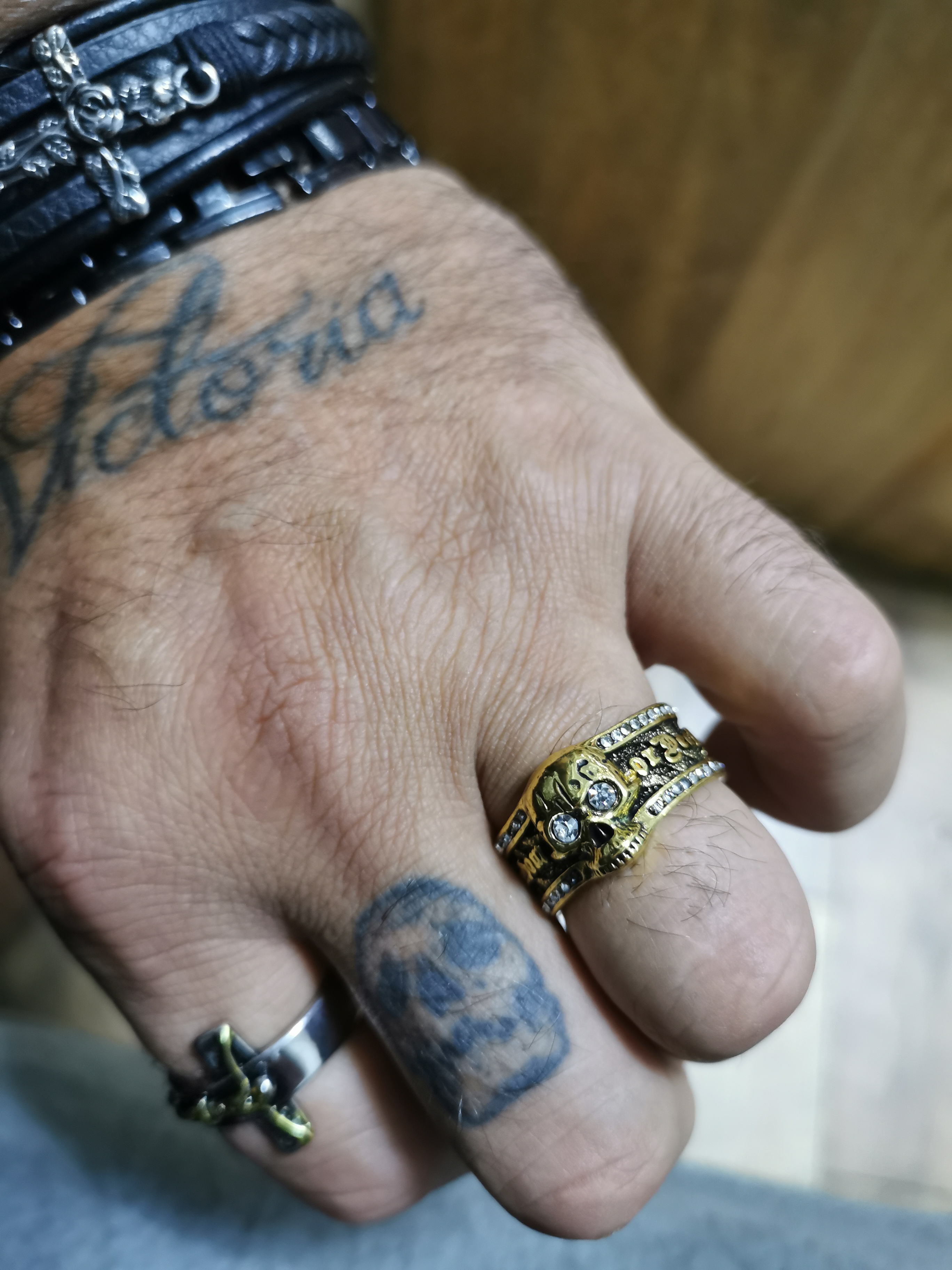 Bague crâne biker homme argent
