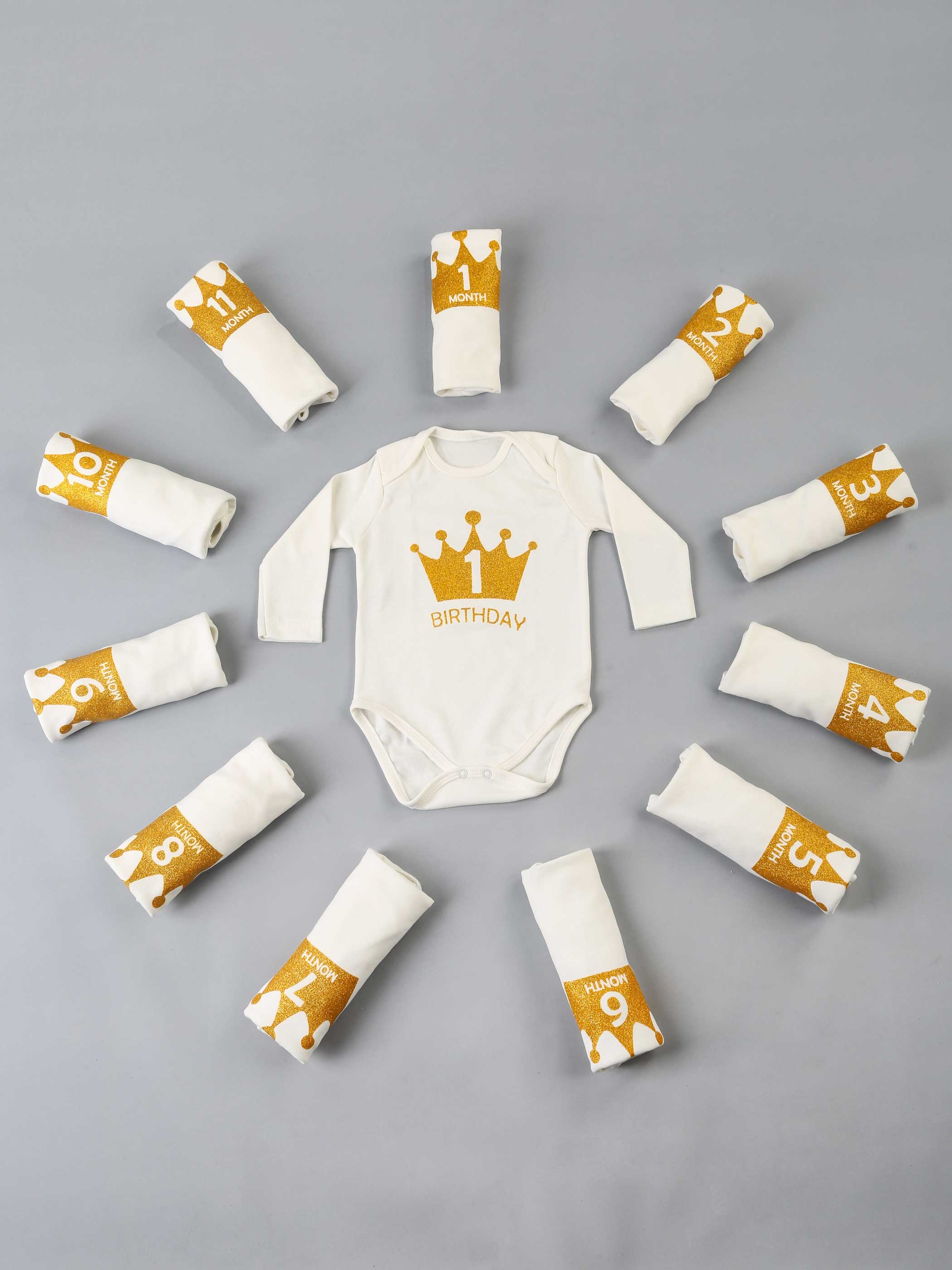 Baby Clothes 12 Pcs / Month Newborn Baby Girls Boys Bodysuit Clothing Sets Cotton Soft Antiallergic Fabric Comfortable Babies