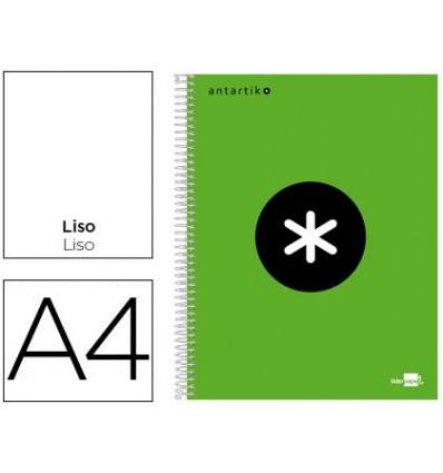 SPIRAL NOTEBOOK LEADERPAPER A4 MICRO ANTARTIK LINED TOP 120H 100 GR WITH BANDS 4 HOLES GREEN FLUOR
