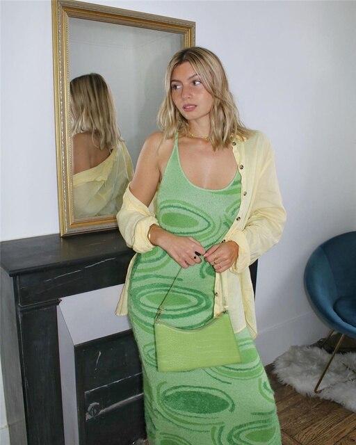 Knitted Dress Elegant Bodycon 2021 Summer Dresse Women Spaghetti Strap Sexy Halter Neck Y2K Party Sleeveless Women's Clothing 2