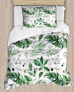 Sonst Tropical Dschungel Grün Weiß Blätter 4 Stück 3D Druck Baumwolle Satin Einzelnen Bettbezug Bettwäsche Set Kissen Fall Bett blatt
