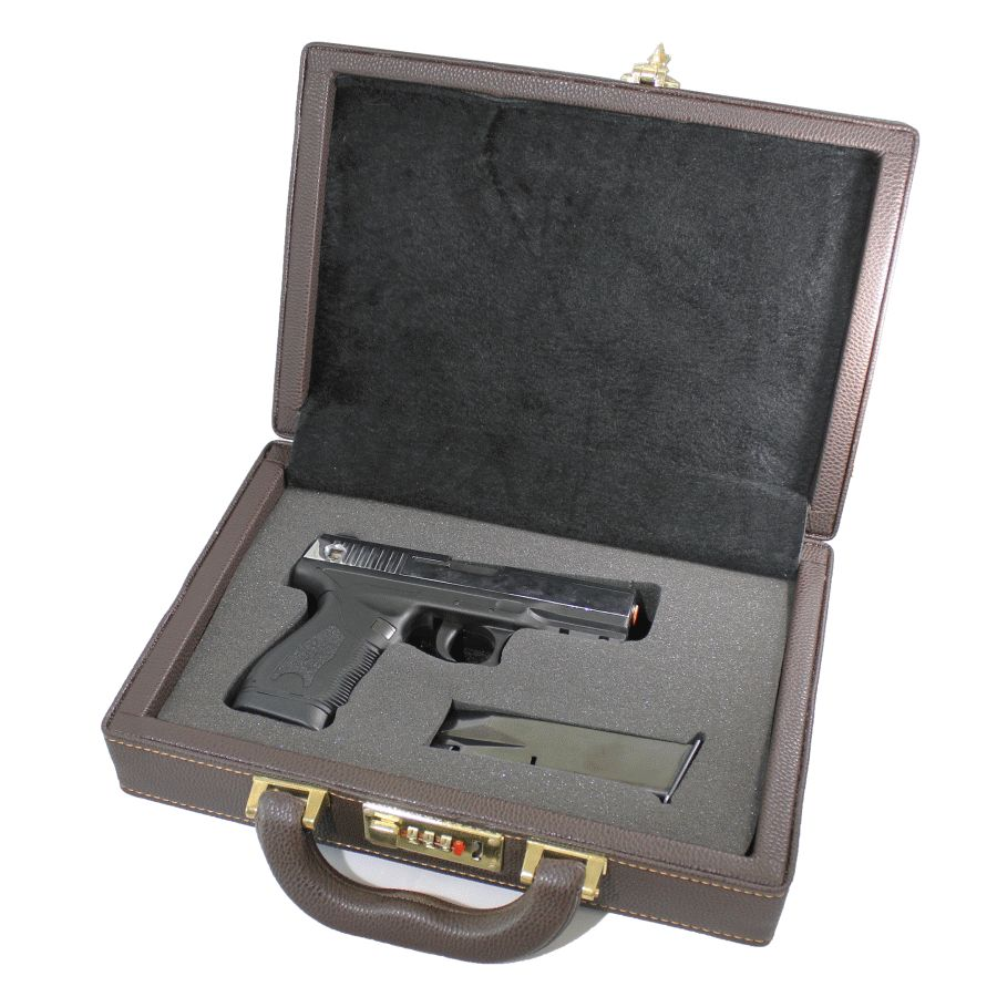 Logical Browning Hi Power Handmade Password Locked Leather Plated Wooden Gun Box Bond Style Suitable For Men, Women, And Children