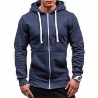 2020 Summer Men Casual Hoodies Male Sweatshirt Zipper Long Sleeve Hooded Spring Jacket Coat Male Zipper Pocket Casual Hoodies
