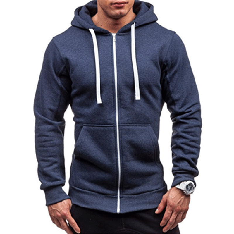 Men Classic Hoodies Zipper Long Sleeve Male Sweatshirt Hoodies Winter Jacket Coat Male Zipper Pocket Solid Casual Hoodies