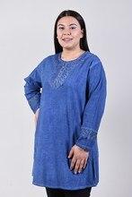 Women's Large Size Fronting Taşlamalı Saks Blue Blouse 4035