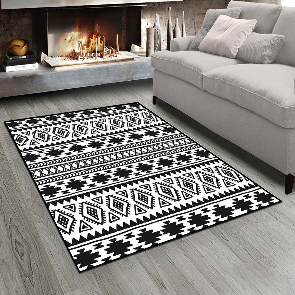 Else Black White Ethnic Morrocan Retro Design  3d Print Non Slip Microfiber Living Room Modern Carpet Washable Area Rug Mat