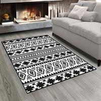 Else czarny biały etniczne Morrocan Retro Design 3d drukuj antypoślizgowe mikrofibry salon nowoczesny dywan zmywalny dywan do składania Mat w Dywany od Dom i ogród na