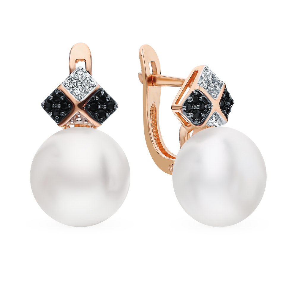 Gold earrings with cubic zirconia, pearl and наношпинелями SUNLIGHT test 585 antique gold color simulated pearl rhinestone earrings
