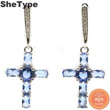 33x15mm Romantic 6.7g Cross Shape Created Violet Tanzanite Natural CZ Gift For Ladies 925 Solid Sterling Silver Earrings