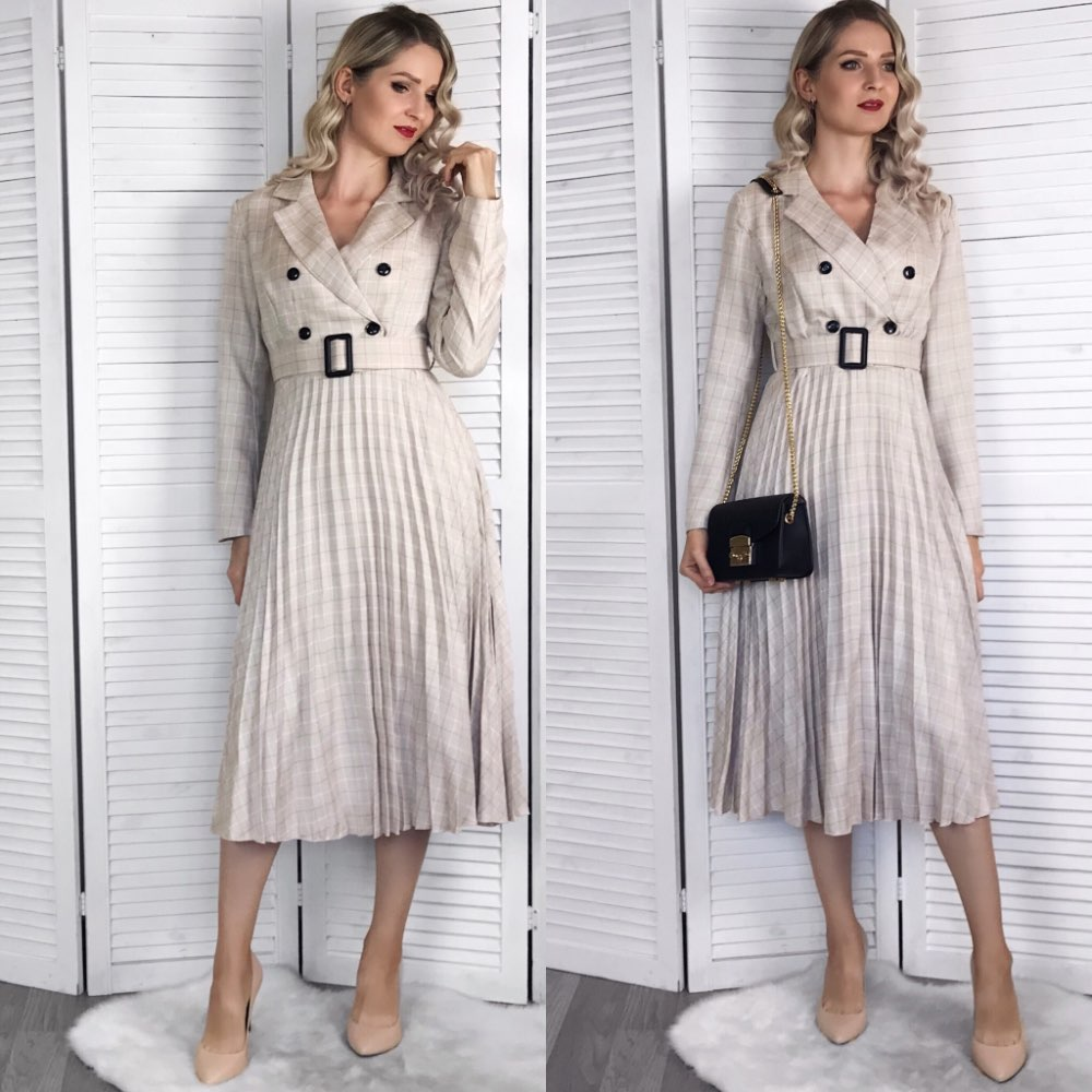 Vintage Pleated Belt Plaid Dress Women Elegant Office Ladies Blazer Dresses Long Sleeve Female Autumn Midi Party Dress photo review