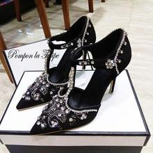 MNK 930030 Velvet Royal Stylish Pointed Toe Rhinestone Shiny Elegant Pumps 8/10CM Chic Stilettos Fancy Party Wedding Women Shoes все цены