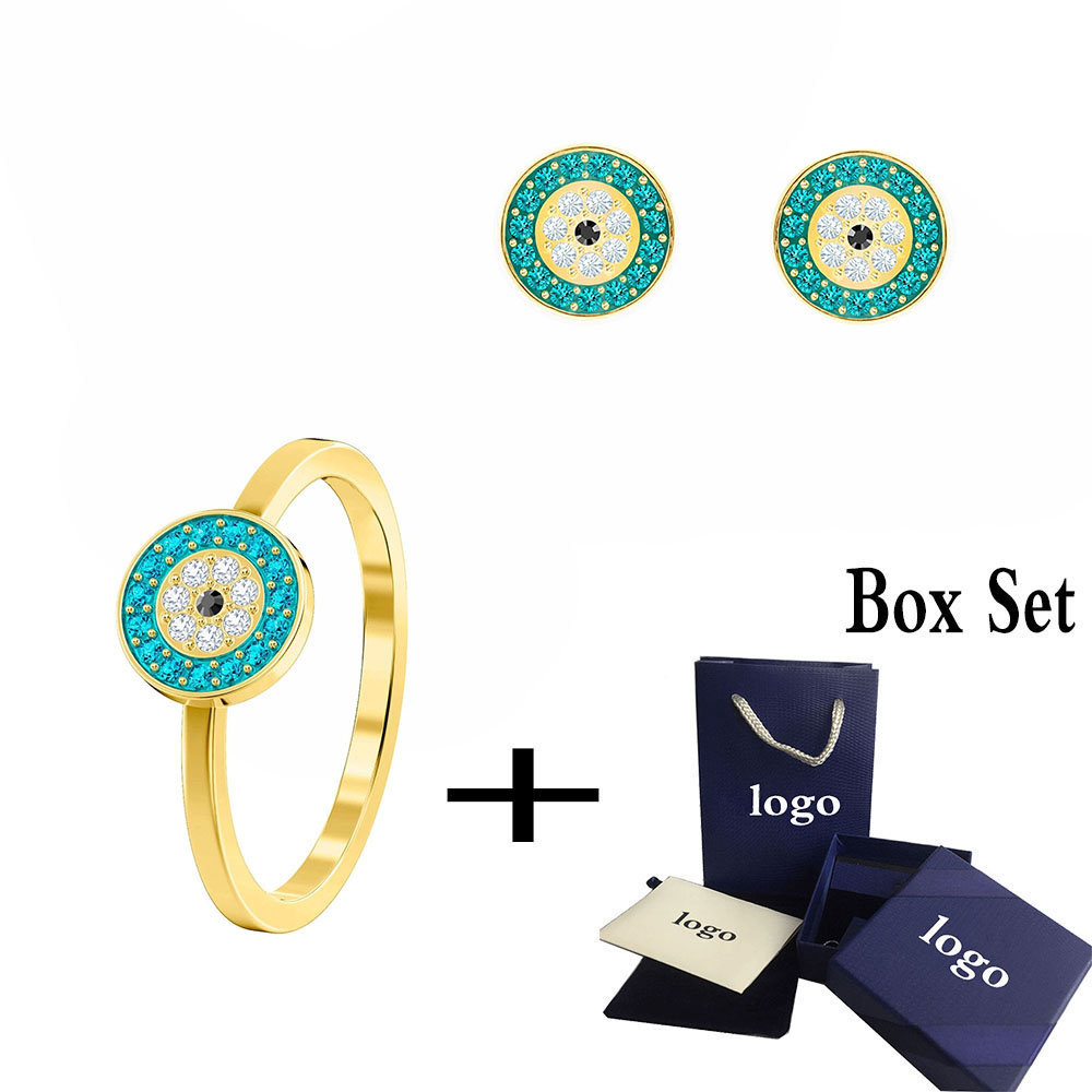 Fashionable Exquisite New Lucky Colored Lady Evil Eye Pierced Ring For Girlfriend Valentine's Day, Birthday Commemorate Gift