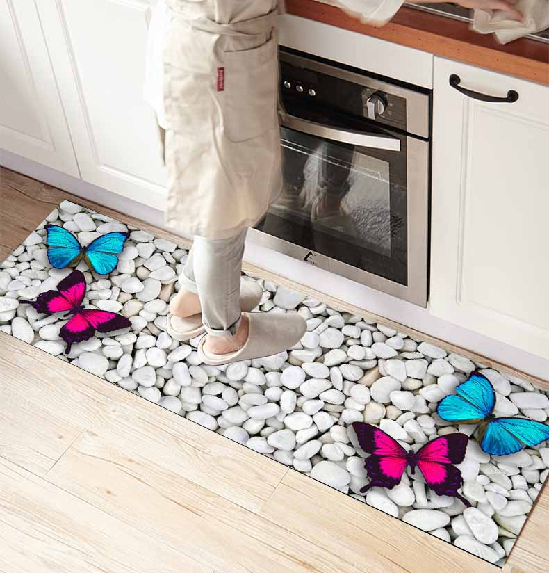Else Pebble Stones On Pink Blue Butterfly 3d Print Non Slip Microfiber Kitchen Counter Modern Decorative Washable Area Rug Mat