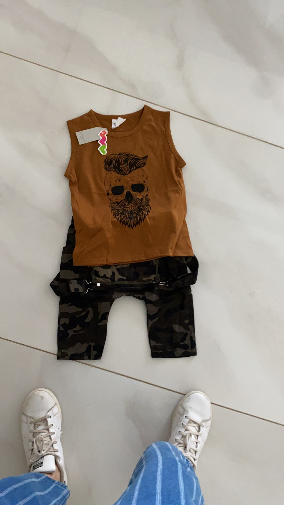 Summer Toddler Baby Boys Two Piece Casual Clothes Sleeveless Printing Tank Top Vest Camo Overalls Outfits Set photo review