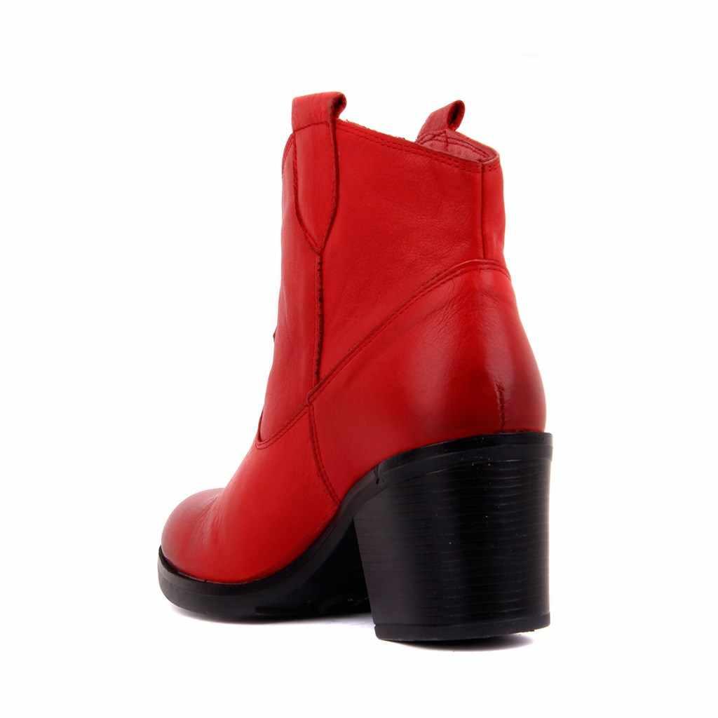 מפרש לייקרס-עור אמיתי מגפי נשים נעלי Zipperless קרסול מגפיים להחליק על גבירותיי נקבה נעלי בציר מגפי טריז סתיו חורף נעלי מזדמנים zapatos de mujer обувь женская