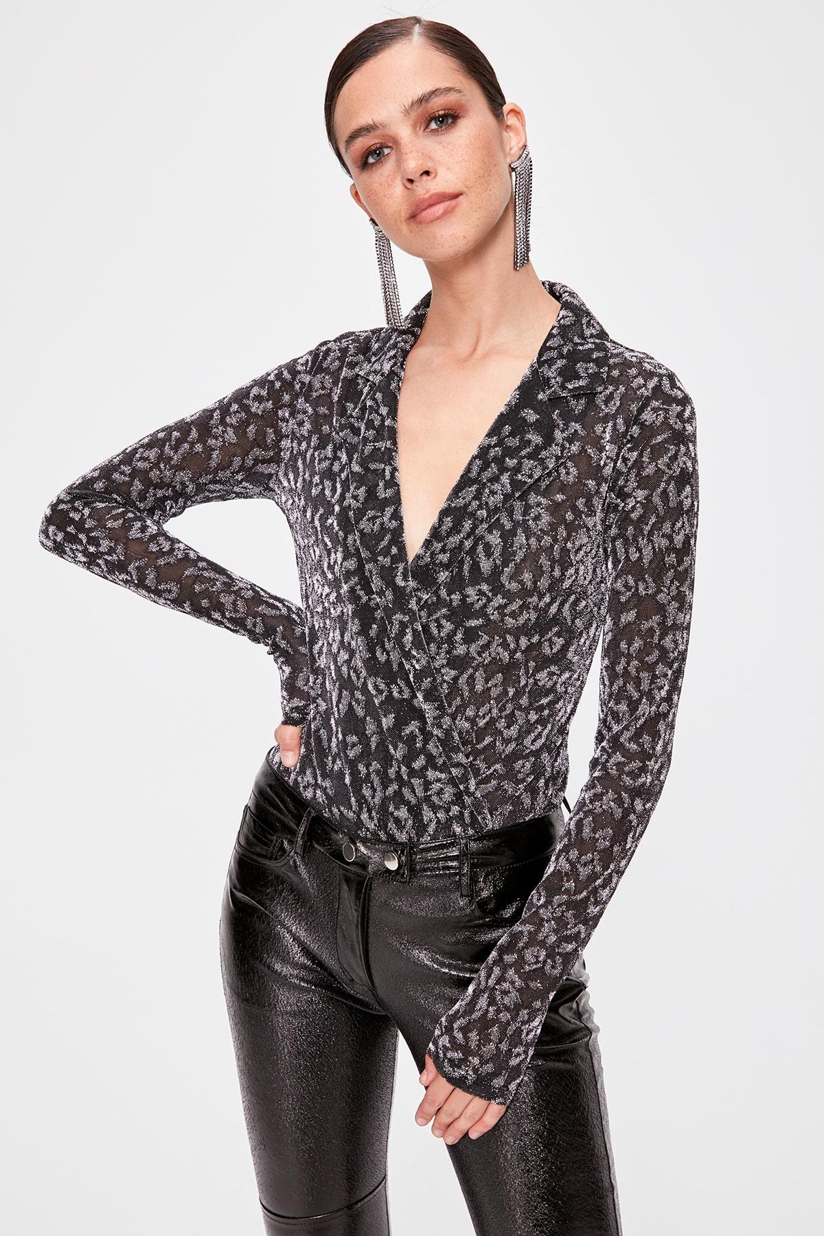 Trendyol Leopard Print Bottom Snaps Body TPRAW20BD0029