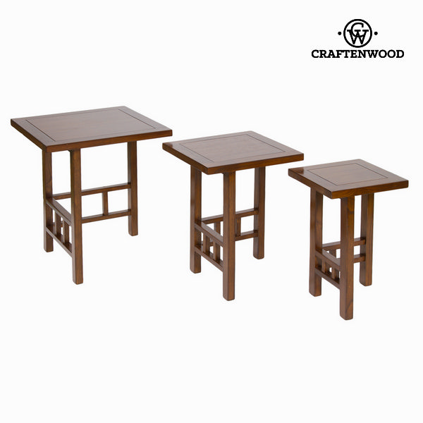 Set Of 3 Tables Mindi Wood Brown - Serious Line Collection By Craftenwood