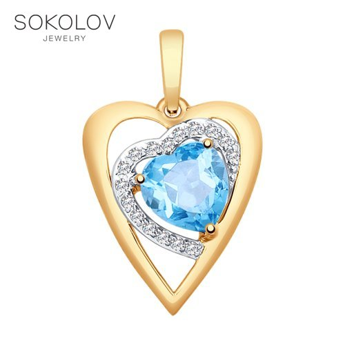 Suspension SOKOLOV Gold With Topaz And Cubic Zirconia Fashion Jewelry 585 Women's Male