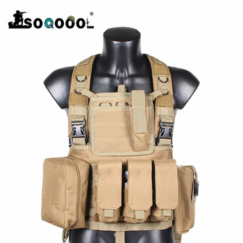 Soqoool Tactical Vest Military Airsoft Camouflage Uniform, Combat Vest Amy Clothing US Navy Seal Colete Tatico Python Chaleco 1 6 the navy seal cqb combat tactical clothes set for 12 bodies