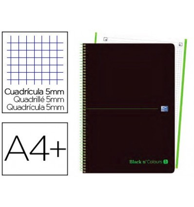 SPIRAL NOTEBOOK OXFORD EBOOK 1 LID PLASTIC DIN A4 + 80 H GRID GREEN 5 MM BLACK'N COLORS 5 Units