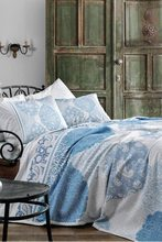 TAÇ Single Printed Pique Set - Aryan Blue-160x230cm Pike 100x200cm + 25cm Fitted (with rubber) Bed Sheet 50x70cm Pillow Case