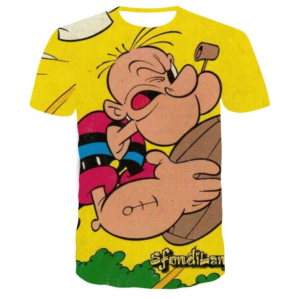 ใหม่มาถึงคลาสสิกการ์ตูน popeye T เสื้อบุรุษสวมใส่ผู้หญิง 3D พิมพ์สั้นเสื้อ streetwear Casual Mens tshirts เสื้อฤดูร้อน