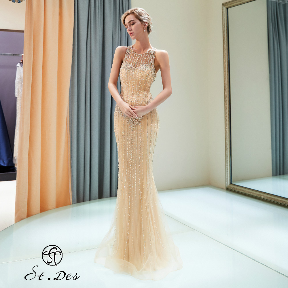 NEW 2020 St.Des Mermaid O-neck Russian Gold Beading Sleeveless Designer Floor Length Evening Dress Party Dress