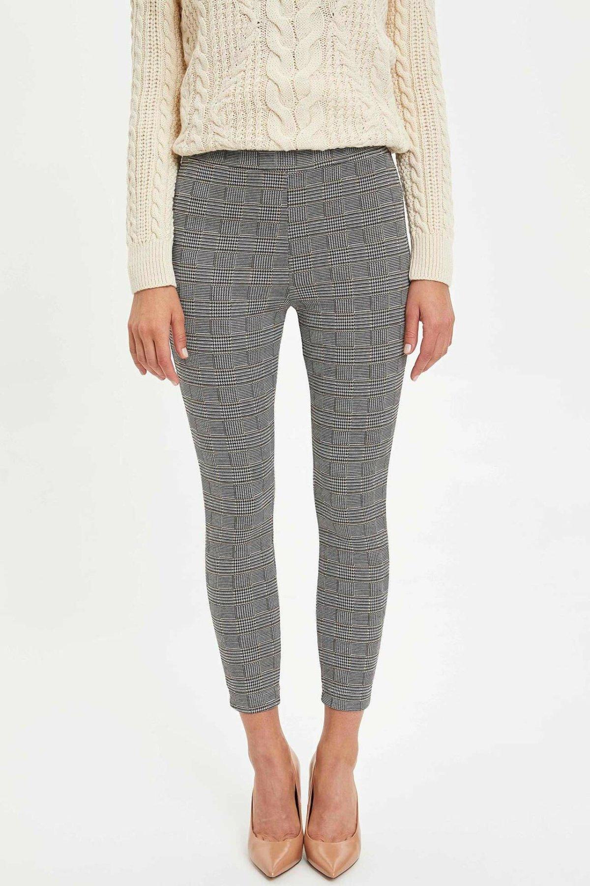 DeFacto Ladies Plaid Pattern Skinny Trousers Women Casual Pants Sweatpants Sport Jogging Leggings Female - M3884AZ19WN