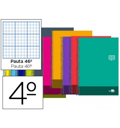 SPIRAL NOTEBOOK LIDERPAPEL QUARTER DISCOVER SOFTCOVER 80H 80 GR STRIPED N° 46 COLORS ASSORTED