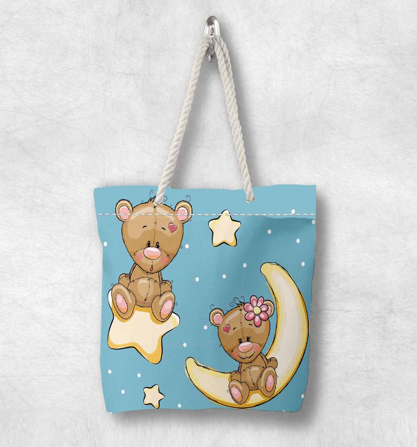 Else Blue Sky Yellow Stars Moon Funny Bears Fashion White Rope Handle Canvas Bag  Cartoon Print Zippered Tote Bag Shoulder Bag