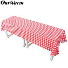 OurWarm Red Plaid Plastic Party Tablecloth Paper Napkins Disposable Table Cover Rectangular Outdoor Picnic BBQ Wedding 137*274cm